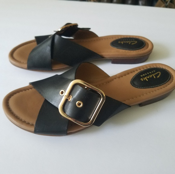 31a53c24824 Clarks Viveca Gwen Leather Cross Strap Sandals